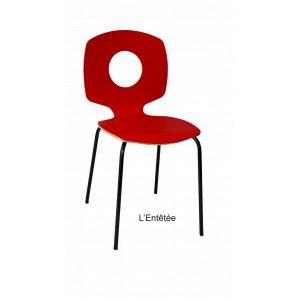 chaise entêtée tsé tsé amusante rouge arrondie indoor outdoor décoration bois hêtre tsé tsé piko edition