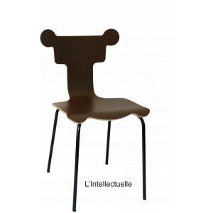 chaise intellectuelle design tsé tsé PIKO Edition designer forme amusante chocolat marron bois hêtre eco responsable écologique pefc made in france fabriquée en france nouvelle aquitaine