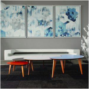tables basses gigognes pi1950 Fred Hernandez made in france miel vintage 1950 coloris formica bleu rouge vert jaune chêne noyer